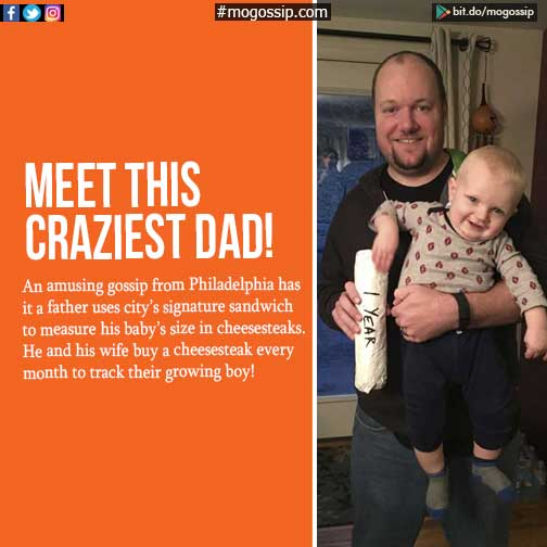 Dad measures baby's growth with cheesesteaks