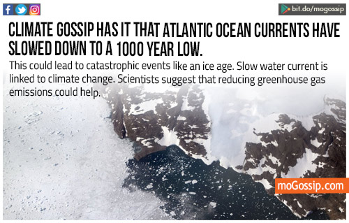 Atlantic Ocean current slows down to the record low in 1,000 years