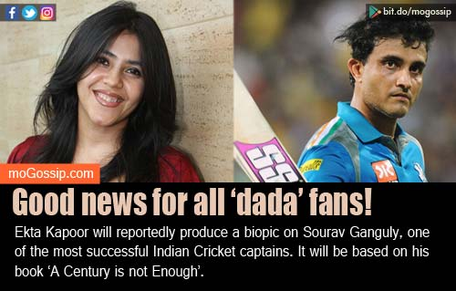 Ekta Kapoor To Produce Film On Cricketer Sourav Ganguly's Life