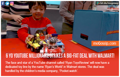 Ryan, a six year old millionaire, who struck a deal with Walmart