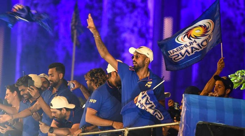 Team Mumbai Indians Celebrate There Fourth IPL Victory With Fans In An Open Bus Road Side Visuals NE