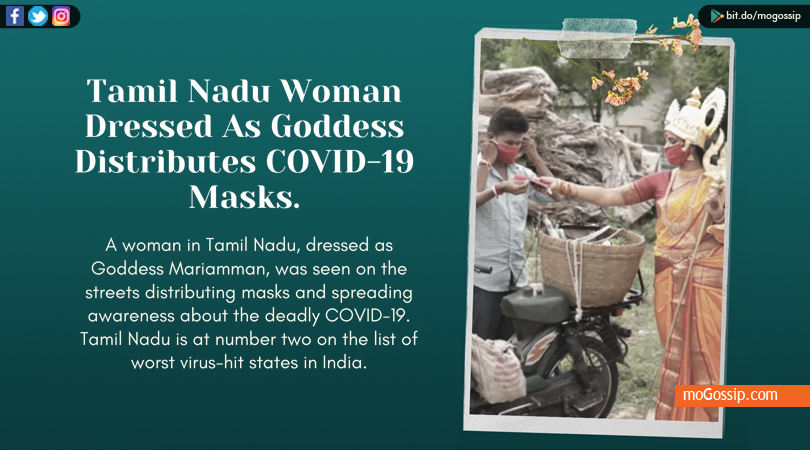 Tamil Nadu Woman D.ressed As Goddess Distributes COVID-19 Masks.