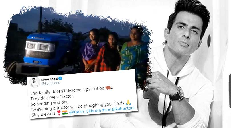 Sonu Sood Gifts Tractor to AP Farmer Who Was Seen Ploughing With His Daughters.