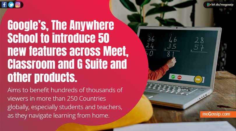 Google's, The Anywhere School to introduce 50 new features across Meet, Classroom and G Suite and other products.